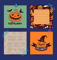 halloween notes set template vector image