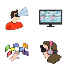 hand monitor headphones woman virtual reality vector image