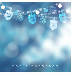 hanukkah blue greeting card invitation with vector image
