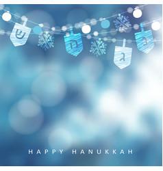 Hanukkah blue greeting card invitation with vector