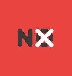 Icon concept of no word with x mark on background vector