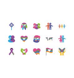 Icon set zero discrimination day flat style vector