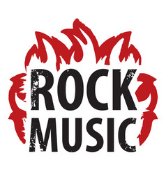 inscription rock music in the fire vector image