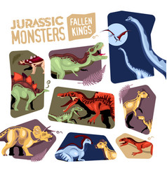Jurassic monsters cutting backgrounds set vector