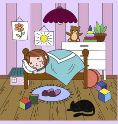 Kids on the theme of childhood room coloring line vector