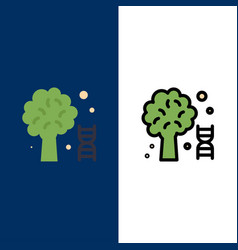Knowledge dna science tree icons flat and line vector