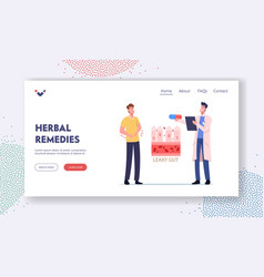 Leaky gut landing page template stomachache vector