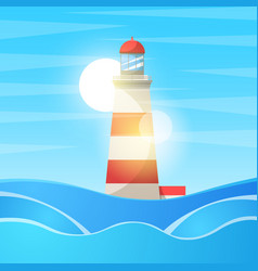 lighthouse sea - cartoon landscape vector image