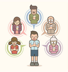 Little boy chat online with his family by mobile vector
