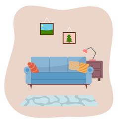 Living room interior design flat vector