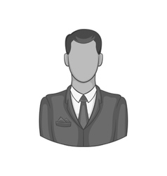 Man in suit avatar icon black monochrome style vector image