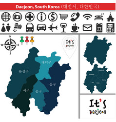map of daejeon with districts south korea vector image