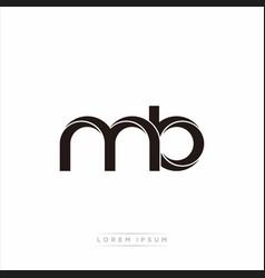Mb initial letter split lowercase modern monogram vector