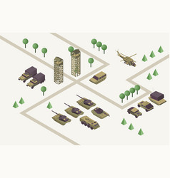 Military base isometric army vector