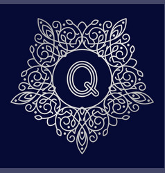 Monogram q bage logo text vector