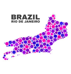 mosaic rio de janeiro state map of spheric dots vector image