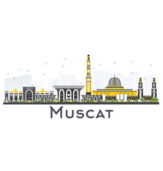 Muscat oman city skyline with gray buildings vector