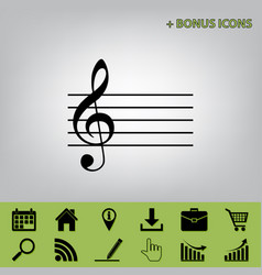 Music violin clef sign g-clef black icon vector