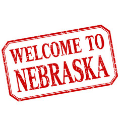 Nebraska - welcome red vintage isolated label vector