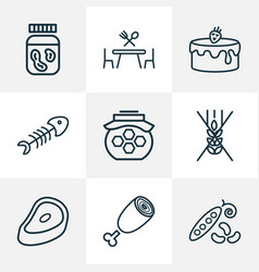 nutrition icons line style set with gluten free vector image