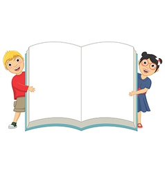 Of Cute Children Holding Book vector