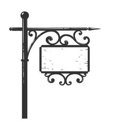 old urban road signpost engraving vector image
