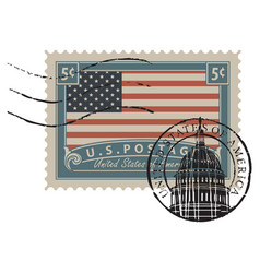 postage stamp with image american flag vector image