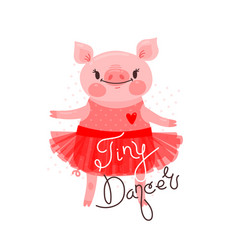 Print t-shirt design with sweet piglet dancing vector