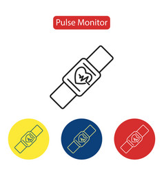 pulse monitor fit icons vector image