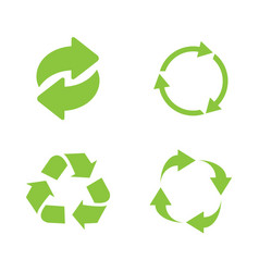 recycle icon set green on white background vector image