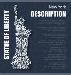 retro boho floral pattern statue liberty vector image