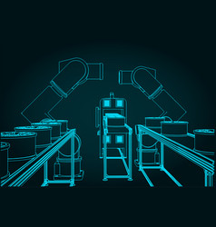 Robotic factory line vector