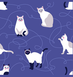 seamless pattern with cute kittens creative vector image