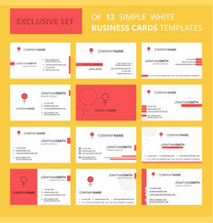 set of 12 female creative busienss card template vector image