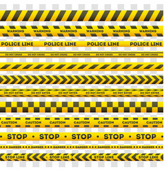 set of yellow police warning lines vector image