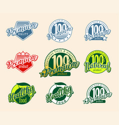 set retro labels and icons vector image