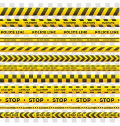 set yellow police warning lines vector image