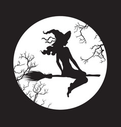 silhouette beautiful witch girl on a broom vector image