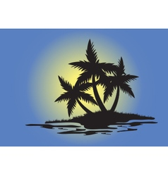 Silhouettes of palm trees on small island vector