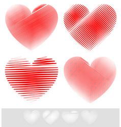 sketchy doodle heart set vector image