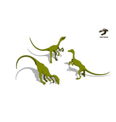 small dinosaur in isometric style vector image