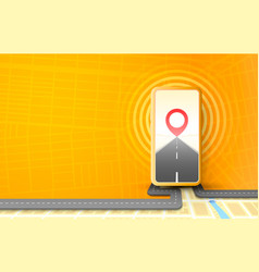 smartphone navigator app mobile location road map vector image