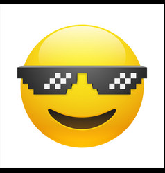 Smiling emoticon with thug life pixel glasses vector