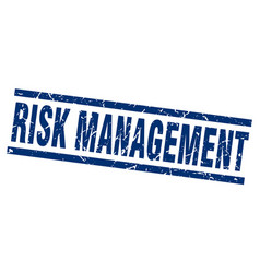 Square grunge blue risk management stamp vector