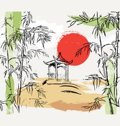 stylish composition with bamboo japanese gazebo vector image
