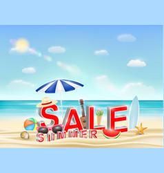 summer sale on a sea sand beach vector image