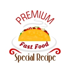 Tacos icon Mexican fast food emblem vector