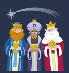 Three kings orient christmas card vector