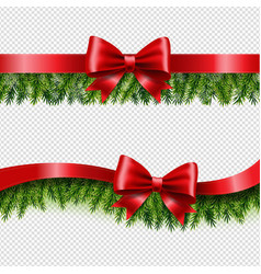 Two red ribbon and fir tree transparent background vector