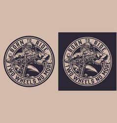 vintage motorcycle monochrome round label vector image